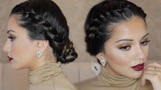 twisted crown braid up do hair tutorial kaushal beauty
