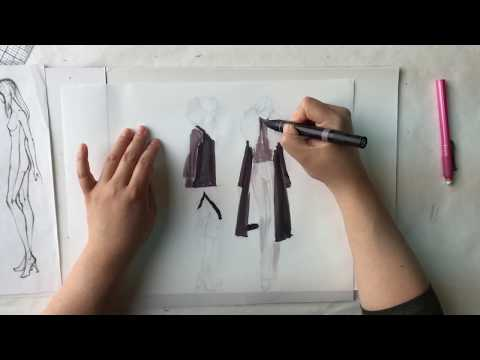 Time Lapse Fashion Illustration: Quick Marker Sketches