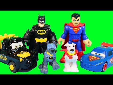 Imaginext Batman & Superman Team Up WIth Disney Pixar Cars Lightning McQueen Mater Krypto Ace Dog