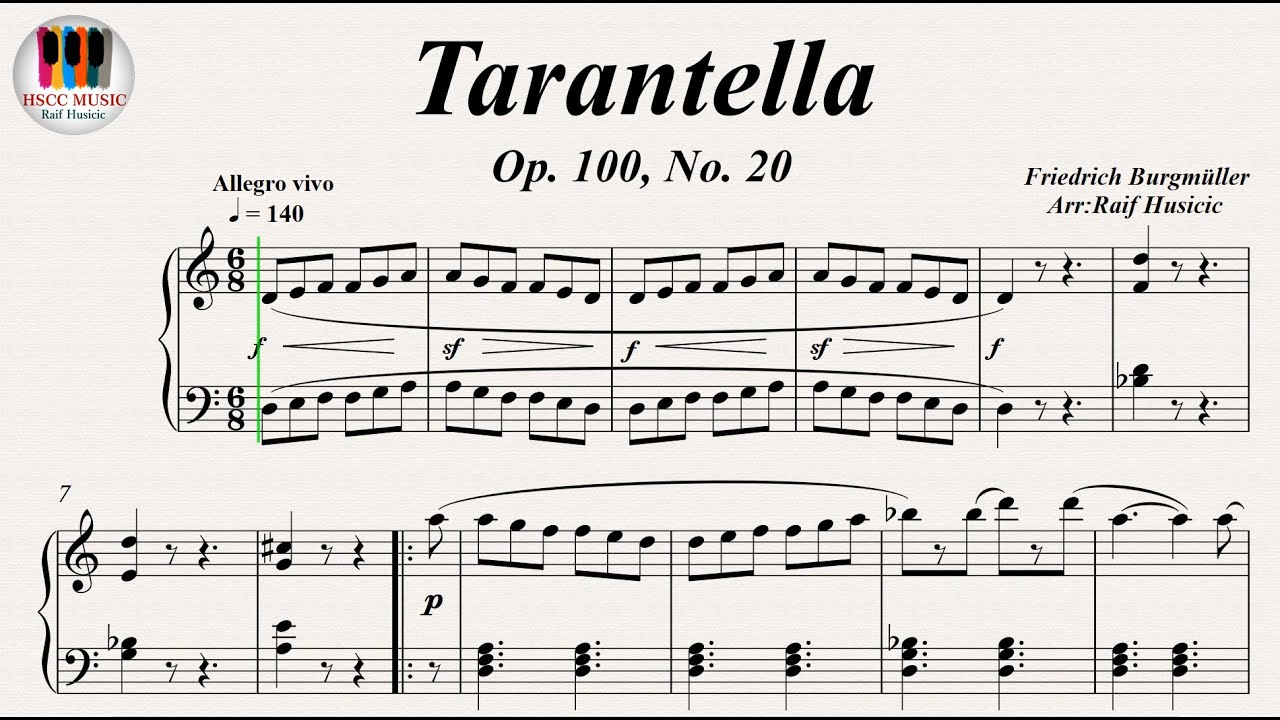 Tarantella Op 100 No 20 Friedrich Burgmüller Piano
