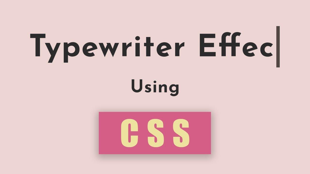 Typewriter effect using HTML and CSS - SHORT TUTORIAL