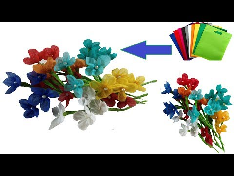 How to Make Shopping Bag Flowers    Best Reuse Idea of Fabric Carry Bag    Craft Corner