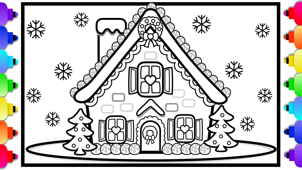 How To Draw A Gingerbread House 💜🍬💛Learn To Draw A Gingerbread