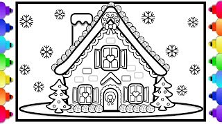 How to Draw a Gingerbread House 💜🍬💛Learn to Draw a Gingerbread House for Kids Easy Coloring Page