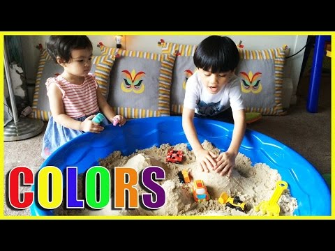 Learn colors excavating sand | Colorful Plastic Balls, toy trucks and toy cars