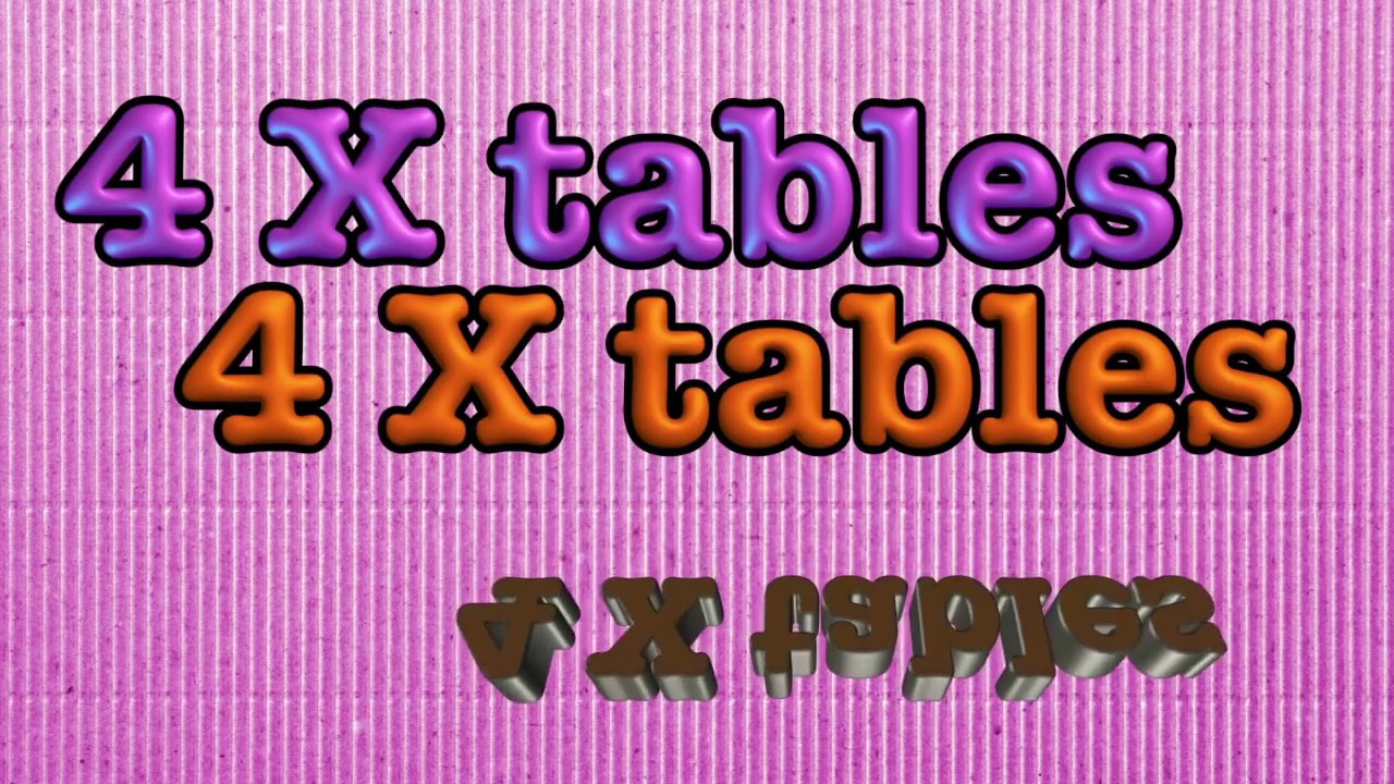 4 Times Tables Multiplication Song And Skip Counting By 4 Youtube