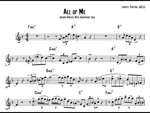 Johnny Hodges on All of Me - Saxophone Solo Transcription (Duke Ellington and his Orchestra) ▶2:31
