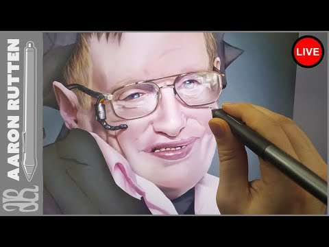  Live: WIP Portrait Of Stephen Hawking - Digital Art Live Stream (3/31/2018)