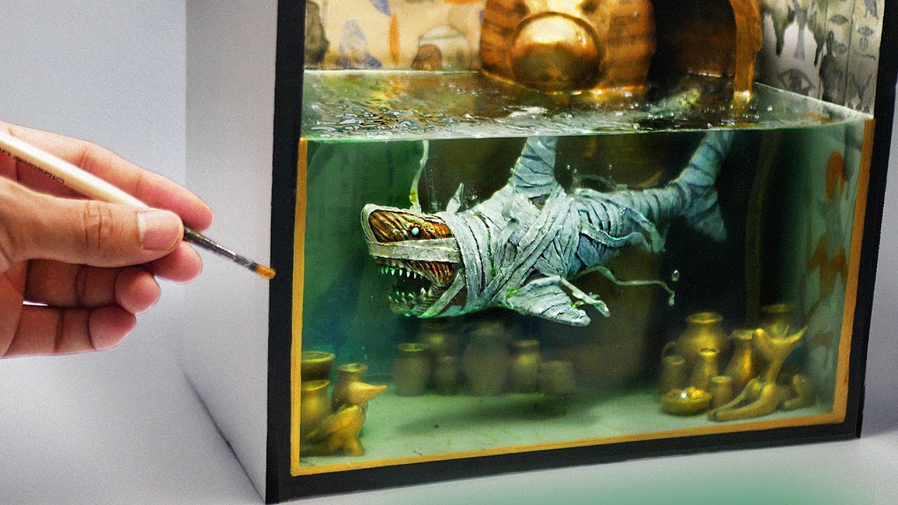 How To Make a Mummy Shark Diorama / Polymer Clay / Epoxy resin