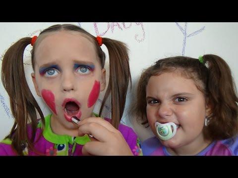 "Bad Baby Annabelle Make Up Fail Vs Victoria ""Toy Freaks Family"" Hidden Surprise Egg"