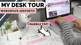 DIY Marble Desktop and Updated Desk Tour | Workspace Aesthetic