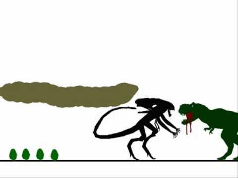 Tyrannosaurus vs Xenomorph queen (remake)