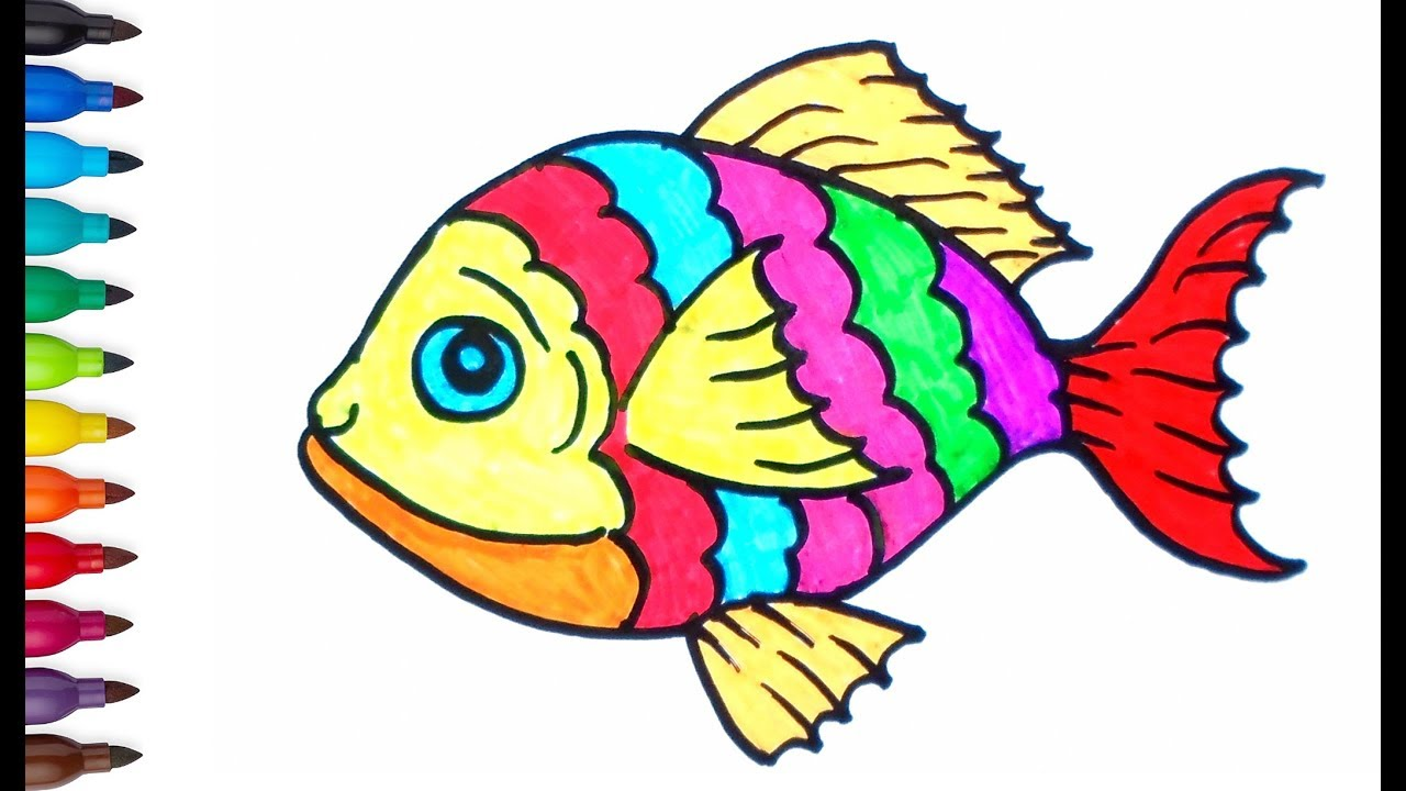 How To Drawing Fish Fish Drawing For Kids Coloring Pages Children Learn Color Youtube