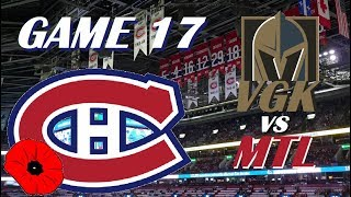 NHL - Montreal Canadians vs Vegas Golden Knights - Lest We Forget! - November 10, 2018