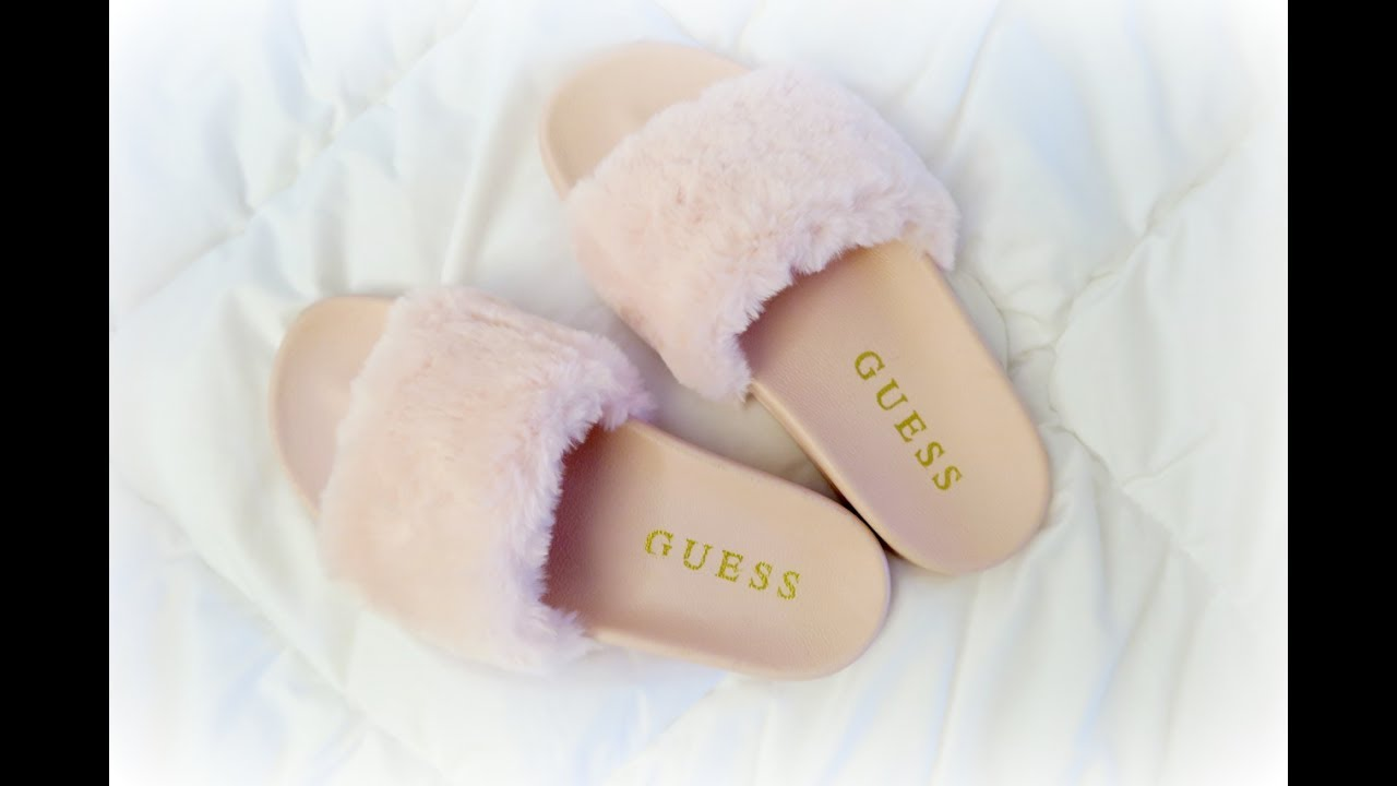 GUESS slides with fur unboxing PUMA FENTY BY RHANNA SLIDES DUPES