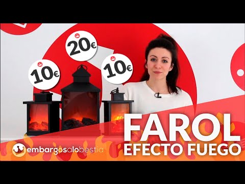 Farol Grundig efecto chimenea 3 LED metal 23 cm video