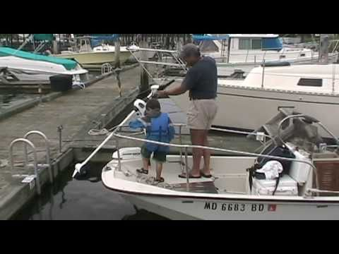 Daddy gets ride with trolling motor from Andrew - YouTube