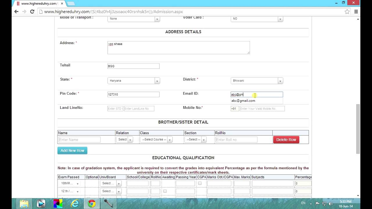 How to fill up online admission form for higher class in haryana – Admission Forms of Schools