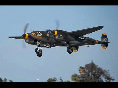 Lockheed P-38 Engine Start up, Taxi & Takeoff after the Riverside Airshow 2014