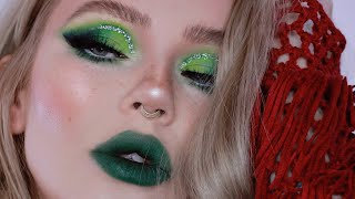 green glam makeup tutorial / holiday look 2018