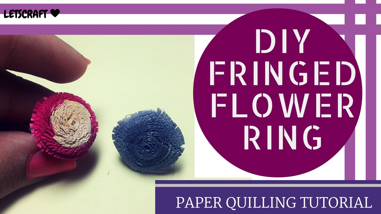 Papercraft How to make Quilling Fringed Flowers- QUILLING FRINGED RING /paper quilling.