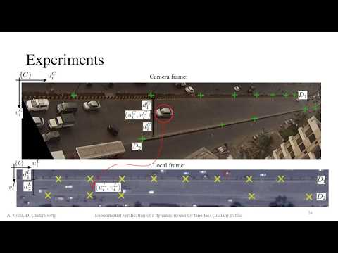 Experimental verification of a dynamic model for lane-less (Indian) traffic