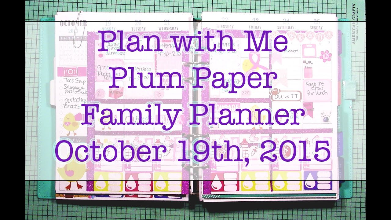plan with me plum paper family planner october 19th 2015