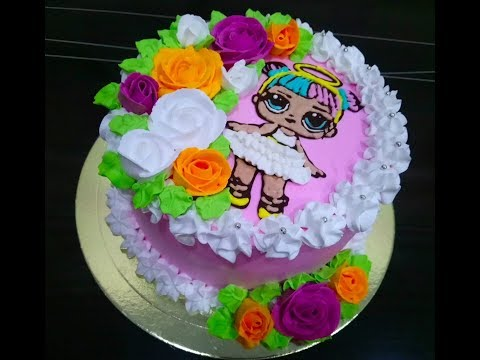 Торт КУКЛА ЛОЛ Как украсить торт кремом для девочки с розами Natalia Tort Sweet Stories