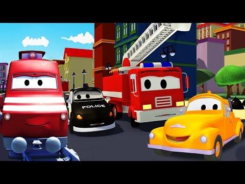 Troy o Trem e a Super Patrulha na Cidade do Carro   Desenhos animados carros caminhões crianças