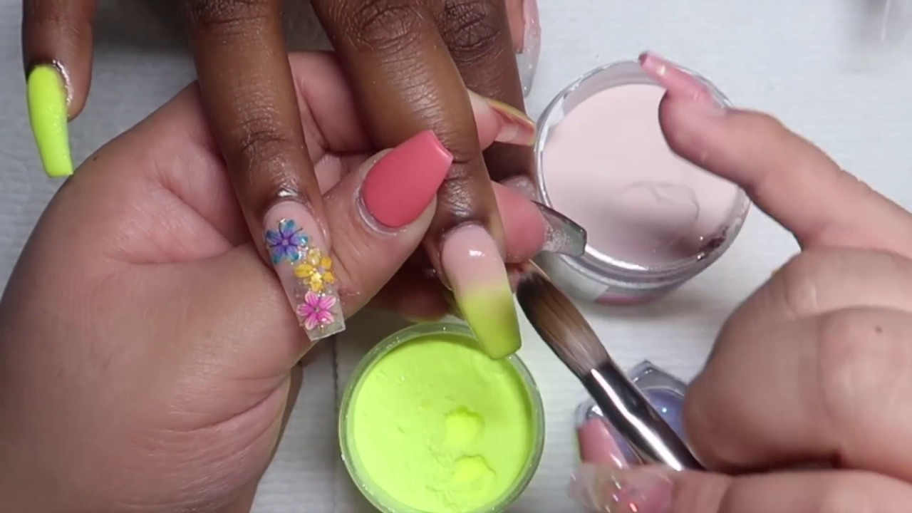 Yellow ombre nails with flowers using Tony Ly acrylics! - YouTube