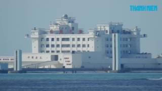 越南方面的赤瓜礁视频,建筑上有好多自动炮