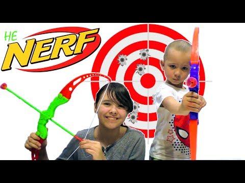 [ОБЗОР не НЕРФ] Игры Стрелялки! ЛУК (Аналог Nerf). Кто самый меткий? Игрушки для мальчиков и девочек