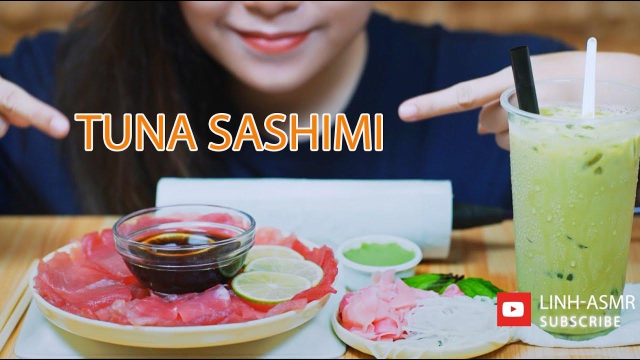 ASMR Ăn cá ngừ sống, Eating Tuna sashimi,eating sound, MUKBANG | LINH-ASMR