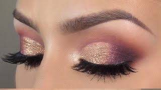 Purple gold cut crease makeup tutorial l HUDA BEAUTY desert dusk palette