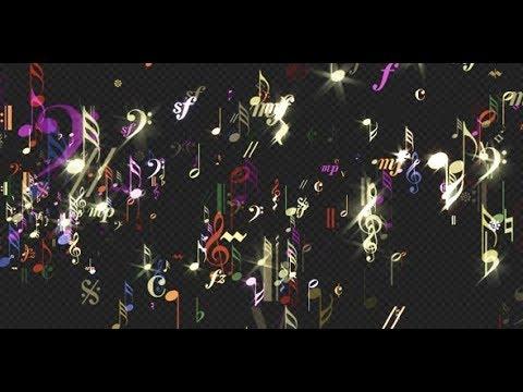 Music Notes - Rainbow Sparkling - Transparent Loop