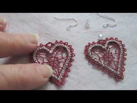 How To Embroider Lace Heart Fsl Free Standing Lace Earrings For