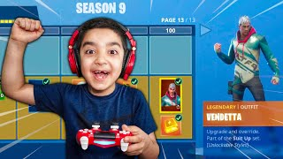 Surprising My Little Brother With FORTNITE Season 9 BATTLE PASS! (HE FREAKED OUT!)