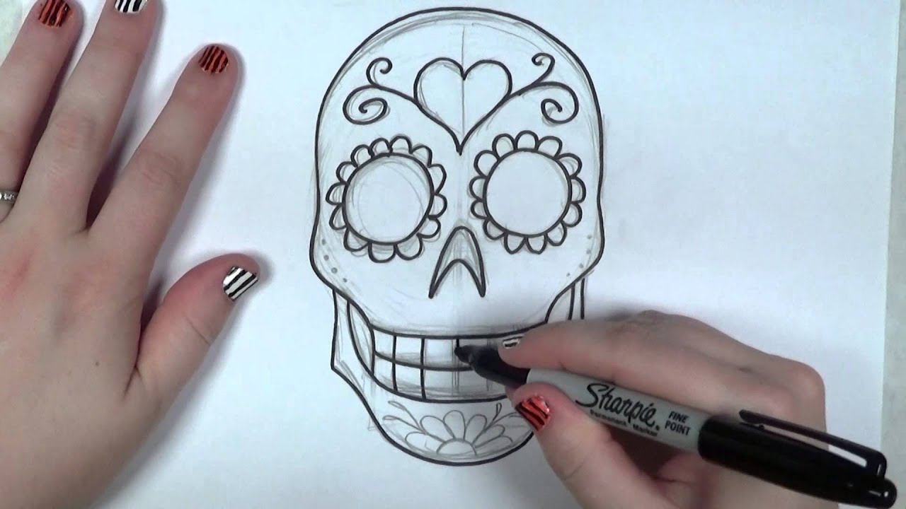 Learn How To Draw And Color A Sugar Skull    Part 1    ICanHazDraw!
