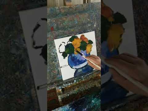 Oil Painting Of Flowers In Loose Brush Artist Jose Trujillo