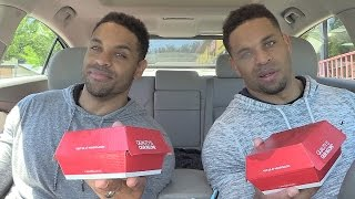 Eating Wendy's Fresh Mozzarella Pesto Chicken Sandwich @Hodgetwins