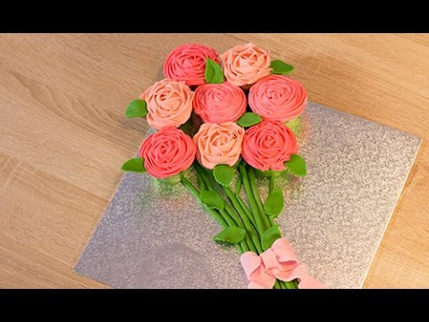 Faire des cupcakes en forme de rose bouquet de cupcakes youtube - Bouquet de rose artificielle ...