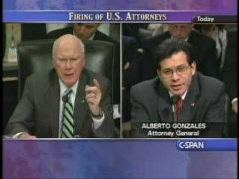 Patrick Leahy Questions Alberto Gonzalez in Attorney Probe