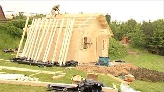 видео Строительство бани из бруса своими руками
