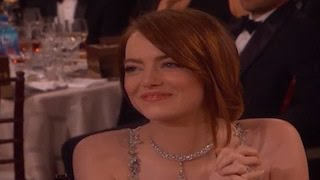Emma Stone Cries While Ryan Gosling Wins A Golden Globe For 'La La Land'