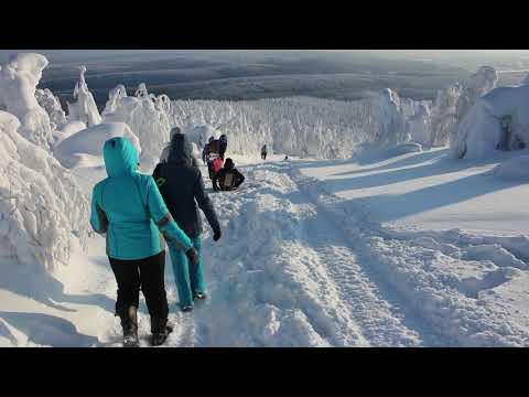 Катание с горы Полюд зимой в Красновишерске