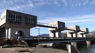 諏訪湖・釜口水門(長野県岡谷市)
