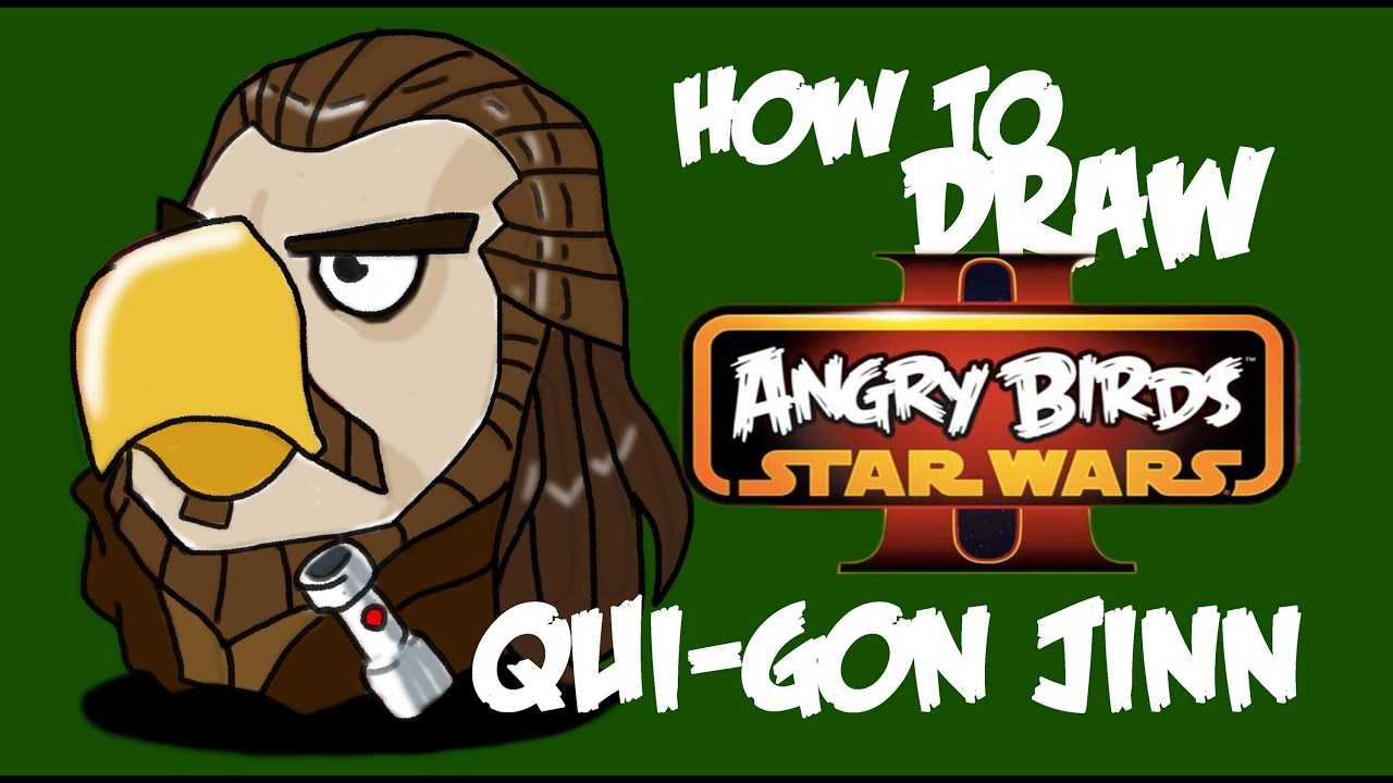 How To Draw Qui-gon Jinn (Angry Birds Star Wars 2)!!