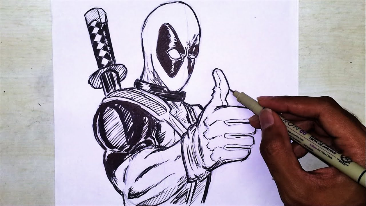 Deadpool Drawing And Inking Marvel Superhero Drawing Youtube