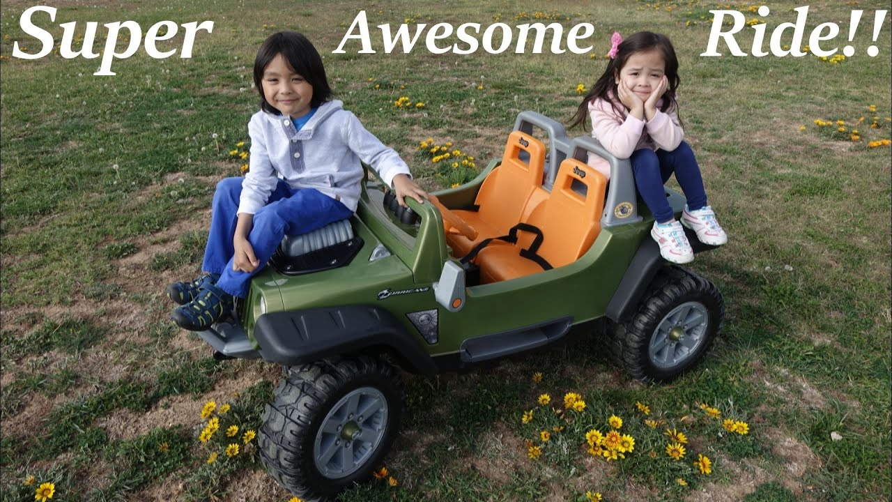 Kids driving a ride on power wheels by fisher price 4x4 jeep wrangler youtube