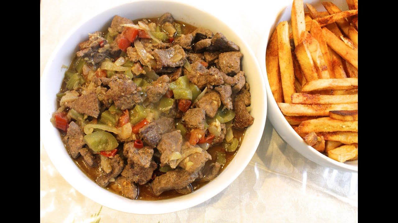 Alexandria style beef liver with sauce. Perfect for a fast dinner! (Egyptian)